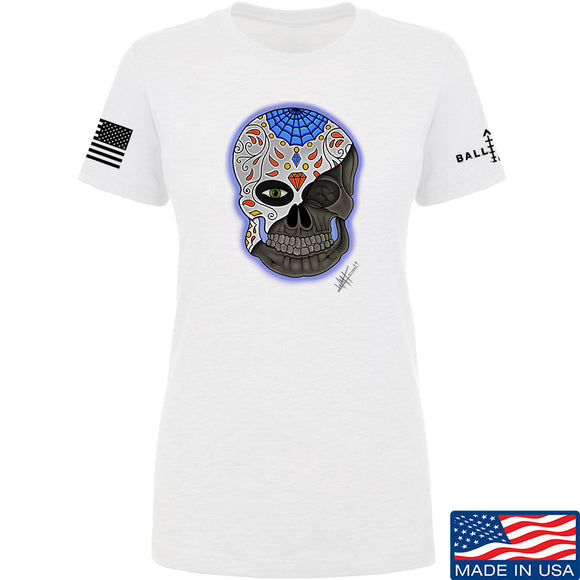 Tattooed n Southern Ladies Sugar Skull T-Shirt T-Shirts SMALL / White by Ballistic Ink - Made in America USA