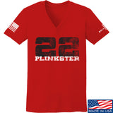 22plinkster Ladies 22plinkster Logo V-Neck T-Shirts, V-Neck SMALL / Red by Ballistic Ink - Made in America USA