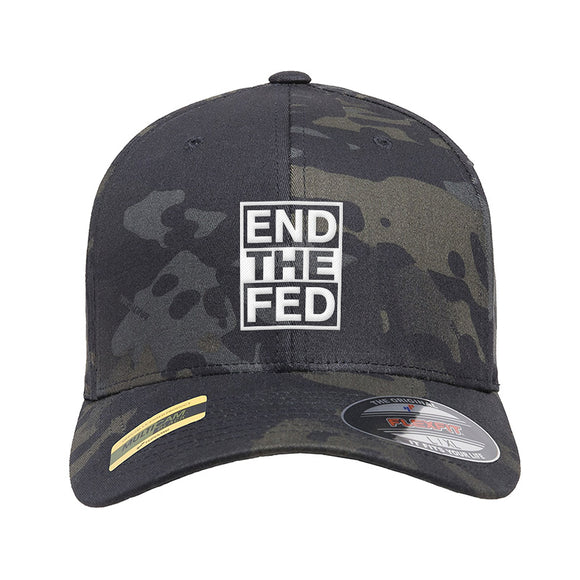 9mmsmg End The Fed Flexfit® Multicam® Trucker Cap Headwear Black Multicam S/M by Ballistic Ink - Made in America USA