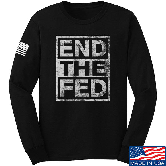 9mmsmg End The Fed Long Sleeve T-Shirt Long Sleeve Small / Black by Ballistic Ink - Made in America USA
