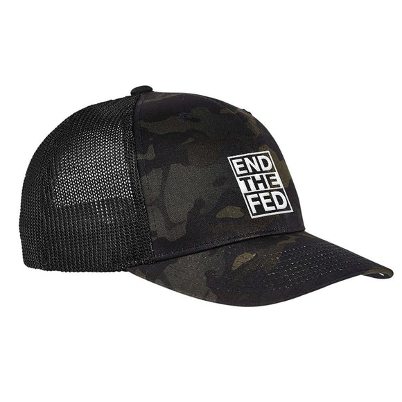 9mmsmg End The Fed Flexfit® Multicam® Trucker Mesh Cap Headwear Black Multicam by Ballistic Ink - Made in America USA