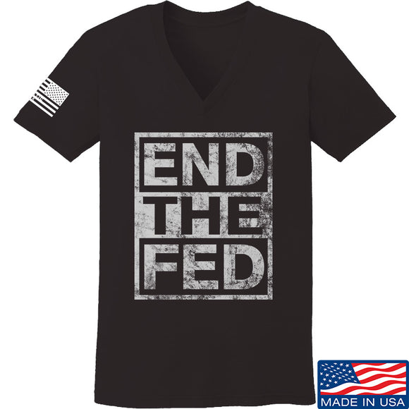 9mmsmg Ladies End The Fed V-Neck T-Shirts, V-Neck SMALL / Black by Ballistic Ink - Made in America USA