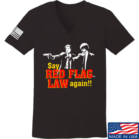 American Gun Chic Ladies Say Red Flag Laws Again V-Neck T-Shirts, V-Neck SMALL / Black by Ballistic Ink - Made in America USA