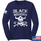 Black Diamond Guns and Gear Black Diamond Skull Long Sleeve T-Shirt Long Sleeve Small / Navy by Ballistic Ink - Made in America USA