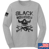 Black Diamond Guns and Gear Black Diamond Skull Long Sleeve T-Shirt Long Sleeve Small / Light Grey by Ballistic Ink - Made in America USA