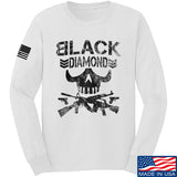 Black Diamond Guns and Gear Black Diamond Skull Long Sleeve T-Shirt Long Sleeve Small / White by Ballistic Ink - Made in America USA