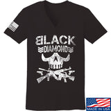 Black Diamond Guns and Gear Ladies Black Diamond Skull V-Neck T-Shirts, V-Neck SMALL / Black by Ballistic Ink - Made in America USA