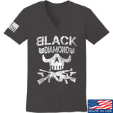 Black Diamond Guns and Gear Ladies Black Diamond Skull V-Neck T-Shirts, V-Neck SMALL / Charcoal by Ballistic Ink - Made in America USA