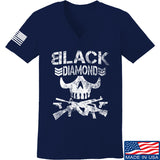 Black Diamond Guns and Gear Ladies Black Diamond Skull V-Neck T-Shirts, V-Neck SMALL / Navy by Ballistic Ink - Made in America USA