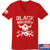 Black Diamond Guns and Gear Ladies Black Diamond Skull V-Neck T-Shirts, V-Neck SMALL / Red by Ballistic Ink - Made in America USA