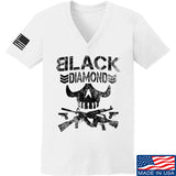 Black Diamond Guns and Gear Ladies Black Diamond Skull V-Neck T-Shirts, V-Neck SMALL / White by Ballistic Ink - Made in America USA