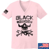 Black Diamond Guns and Gear Ladies Black Diamond Skull V-Neck T-Shirts, V-Neck SMALL / Light Pink by Ballistic Ink - Made in America USA