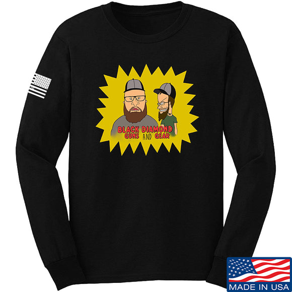 Black Diamond Guns and Gear Josh and Josh Black Diamond Guns and Gear Logo Long Sleeve T-Shirt Long Sleeve Small / Black by Ballistic Ink - Made in America USA
