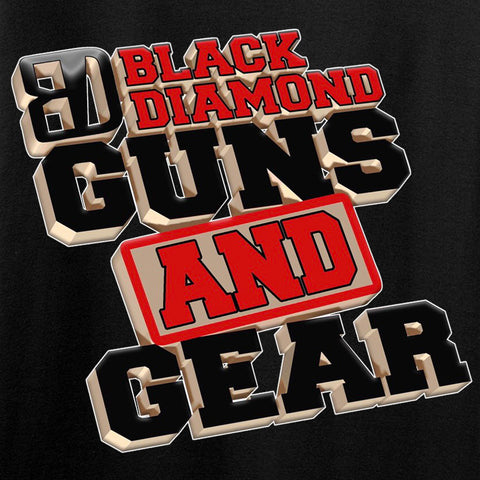 Black Diamond Guns and Gear Ladies Black Diamond Guns and Gear Full Chest T-Shirt T-Shirts [variant_title] by Ballistic Ink - Made in America USA