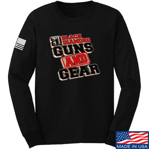 Black Diamond Guns and Gear Black Diamond Guns and Gear Full Logo Long Sleeve T-Shirt Long Sleeve Small / Black by Ballistic Ink - Made in America USA