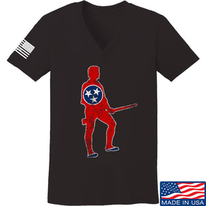 Black Diamond Guns and Gear Ladies Minutemen of Tennessee V-Neck T-Shirts, V-Neck SMALL / Black by Ballistic Ink - Made in America USA