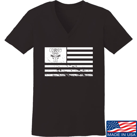 Ladies Cabot Guns Flag V-Neck