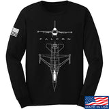 Fitty% Aviation - F16 - Falcon Long Sleeve T-Shirt Long Sleeve Small / Black by Ballistic Ink - Made in America USA