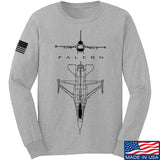Fitty% Aviation - F16 - Falcon Long Sleeve T-Shirt Long Sleeve Small / Light Grey by Ballistic Ink - Made in America USA