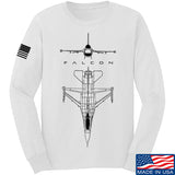 Fitty% Aviation - F16 - Falcon Long Sleeve T-Shirt Long Sleeve Small / White by Ballistic Ink - Made in America USA