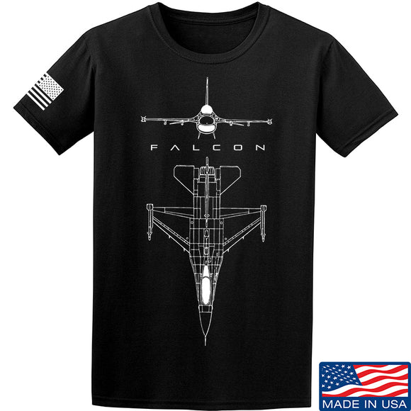 Fitty% Aviation - F16 - Falcon T-Shirt T-Shirts Small / Black by Ballistic Ink - Made in America USA