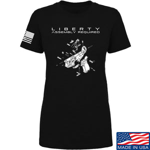 Fitty% Ladies Liberty: Assembly Required T-Shirt T-Shirts SMALL / Black by Ballistic Ink - Made in America USA