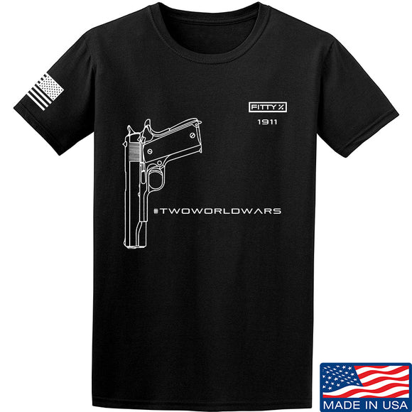 Fitty% Pistol - 1911 - Two World Wars T-Shirt T-Shirts Small / Black by Ballistic Ink - Made in America USA
