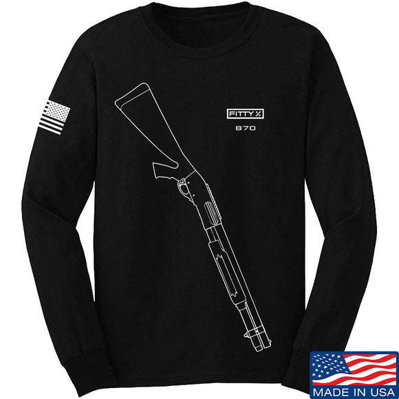 Fitty% Shotgun - 870 Long Sleeve T-Shirt Long Sleeve Small / Black by Ballistic Ink - Made in America USA