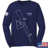Fitty% Shotgun - AA12 Long Sleeve T-Shirt Long Sleeve Small / Navy by Ballistic Ink - Made in America USA