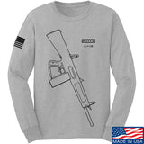 Fitty% Shotgun - AA12 Long Sleeve T-Shirt Long Sleeve Small / Light Grey by Ballistic Ink - Made in America USA