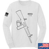 Fitty% Shotgun - AA12 Long Sleeve T-Shirt Long Sleeve Small / White by Ballistic Ink - Made in America USA