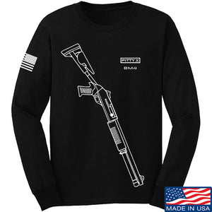 Fitty% Shotgun - BM4 Long Sleeve T-Shirt Long Sleeve Small / Black by Ballistic Ink - Made in America USA