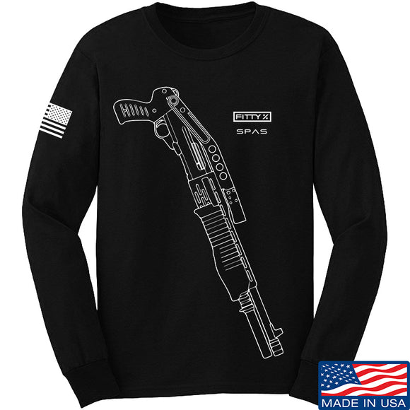 Fitty% Shotgun - SPAS F Long Sleeve T-Shirt Long Sleeve Small / Black by Ballistic Ink - Made in America USA