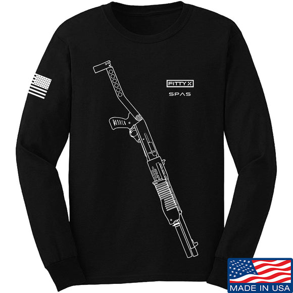 Fitty% Shotgun - SPAS UF Long Sleeve T-Shirt Long Sleeve Small / Black by Ballistic Ink - Made in America USA