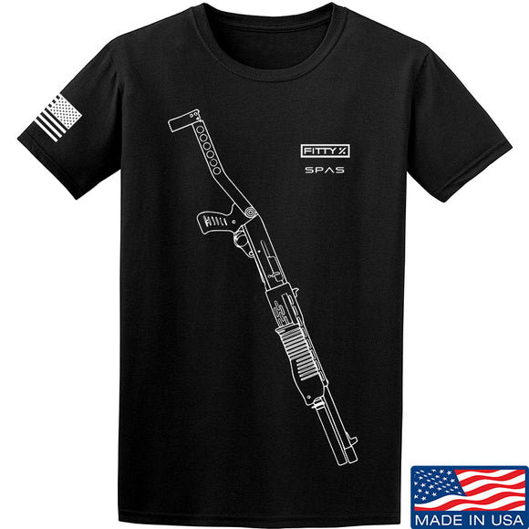 Fitty% Shotgun - SPAS UF T-Shirt T-Shirts Small / Black by Ballistic Ink - Made in America USA