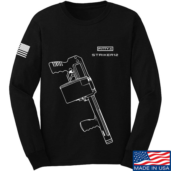 Fitty% Shotgun - Striker12 Long Sleeve T-Shirt Long Sleeve Small / Black by Ballistic Ink - Made in America USA
