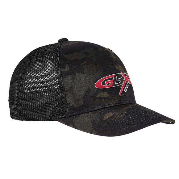 Gould Brothers Gould Brothers Logo Flexfit® Multicam® Trucker Mesh Cap Headwear Black Multicam by Ballistic Ink - Made in America USA