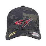 Gould Brothers Gould Brothers Logo Flexfit® Multicam® Trucker Cap Headwear Black Multicam S/M by Ballistic Ink - Made in America USA