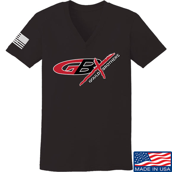 Gould Brothers Ladies Gould Brothers Full Logo V-Neck T-Shirts, V-Neck SMALL / Black by Ballistic Ink - Made in America USA