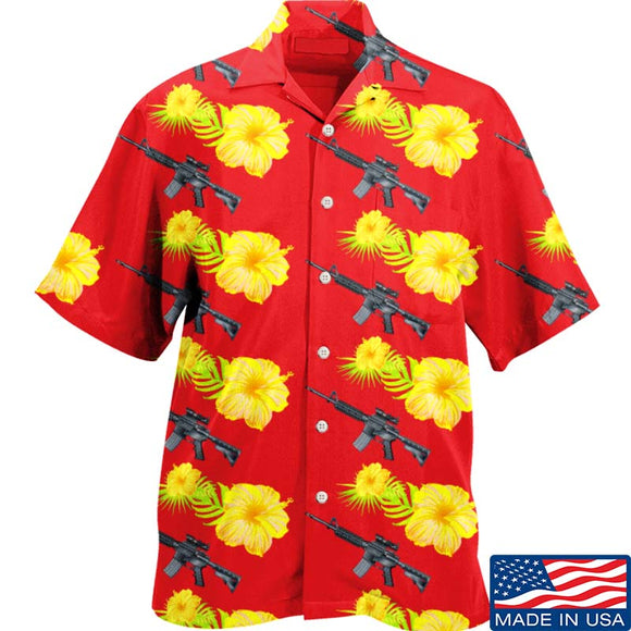 Yellow Flower AR15 Hawaiian Shirt
