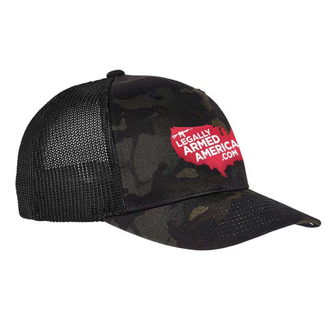 Legally Armed America Logo Flexfit® Multicam® Trucker Mesh Cap