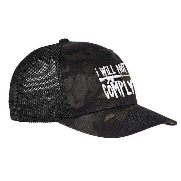 MAC I Will Not Comply Flexfit® Multicam® Trucker Mesh Cap Headwear Black Multicam by Ballistic Ink - Made in America USA