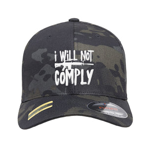 MAC I Will Not Comply Flexfit® Multicam® Trucker Cap Headwear Black Multicam S/M by Ballistic Ink - Made in America USA