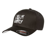 MAC I Will Not Comply Flexfit® Cap Headwear S/M / Black by Ballistic Ink - Made in America USA