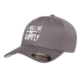 MAC I Will Not Comply Flexfit® Cap Headwear S/M / Grey by Ballistic Ink - Made in America USA