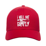 MAC I Will Not Comply Snapback Cap Headwear Red by Ballistic Ink - Made in America USA