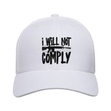 MAC I Will Not Comply Snapback Cap Headwear White by Ballistic Ink - Made in America USA