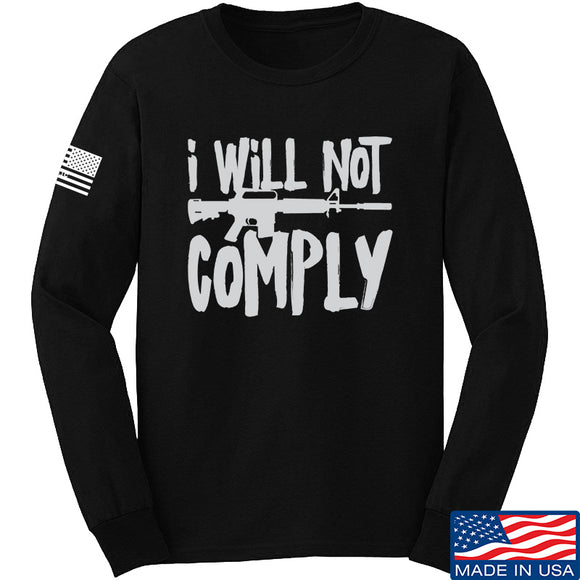 MAC I Will Not Comply Long Sleeve T-Shirt Long Sleeve Small / Black by Ballistic Ink - Made in America USA