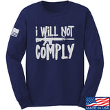 MAC I Will Not Comply Long Sleeve T-Shirt Long Sleeve Small / Navy by Ballistic Ink - Made in America USA