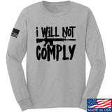 MAC I Will Not Comply Long Sleeve T-Shirt Long Sleeve Small / Light Grey by Ballistic Ink - Made in America USA